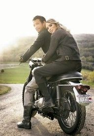 motorcycle engagement pic...with the wedding date over the plate...super cute