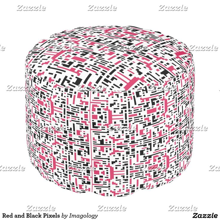 Red and Black Pixels Pouf