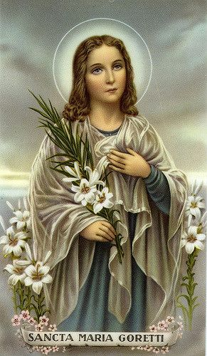 6 juli: St. Maria Goretti (1890-1902), patroonheilige van slachtoffers van aanranding en verkrachting. Werd als meisje van elf jaar oud aangevallen en neergestoken door een man die haar probeerde te verkrachten, Alessandro Serenelli. Hij werd door Maria vergeven voordat ze overleed. Hij bekeerde zich na een visioen van Maria Goretti, ontving vergeving van haar moeder en werd Kapucijner monnik. Hij was met haar moeder aanwezig bij Maria's heiligverklaring in 1950. Ze wordt de St. Agnes van de…