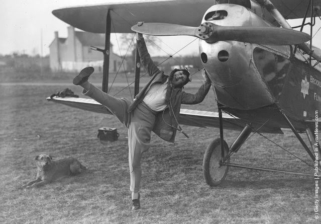 A young woman taking flying lessons at Brooklands School. (Photo by Fox Photos/Getty Images). 1929