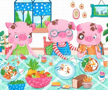 Three little pigs by Sofia Cardoso - children's illustration  #illustration #kidlitart