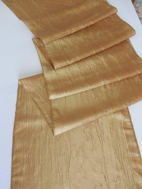 Gold table runner wedding table runner elegant soft wrinkled taffeta table decor many colors