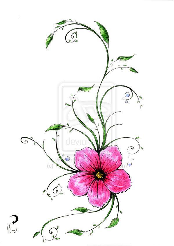 Tropical flower tatoo by paulo nekoi on deviantart for Flower vine tattoo images