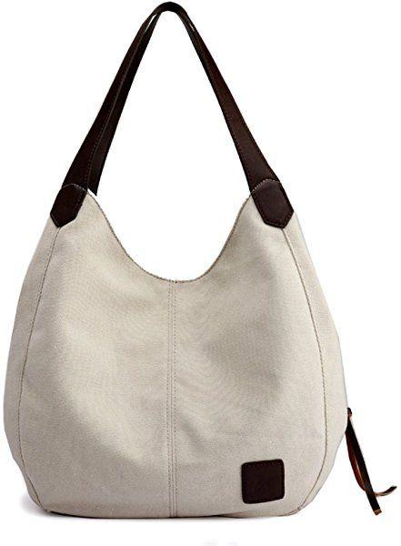 Amazon.com  Alyssaa Women s Canvas Shoulder Handbags Ladies Casual Hobo  Shopping Bags Cotton Totes Daily Purses (Beige)  Shoes 17c217081b552