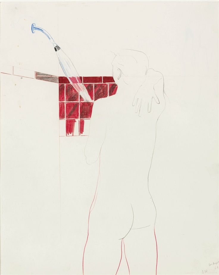 David Hockney (British, b. 1937), Nude Boy, Los Angeles, 1964. Wax crayon, coloured pencil and graphite on paper, 12½ x 10 in.