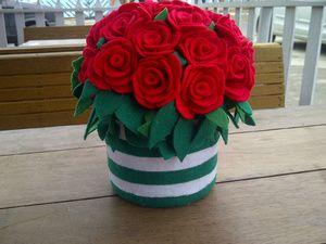 Bunga Pot Flanel (hiasan meja kantor, kamar, kado)
