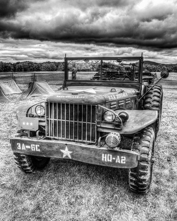 WW2 Command Jeep 8x10 Black and White Photograph by SolsticePhoto, $20.00