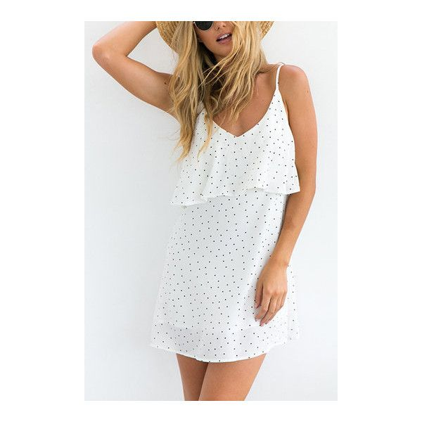 Yoins White Polka Dot Overlay Slip Mini Dress ($21) ❤ liked on Polyvore featuring dresses, white dress, short slip dress, short white dresses, mini slip dress and polka dot dresses