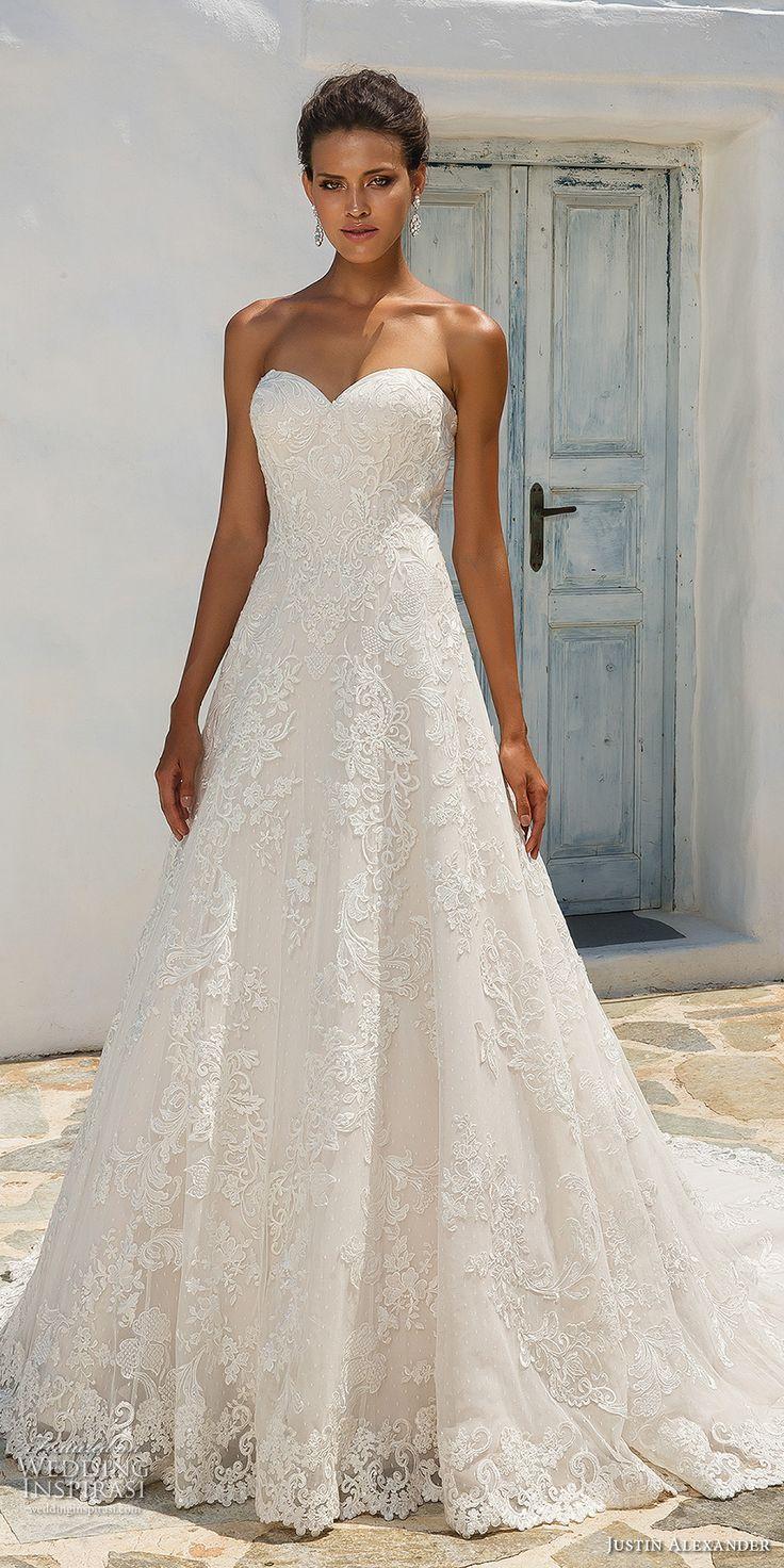 Cool Justin Alexander 2018 Bridal Strapless Sweetheart Neckline Full Embellishment Romantic A Line Wedding Dress Chapel Tra Braut Kleider Hochzeit Brautkleid