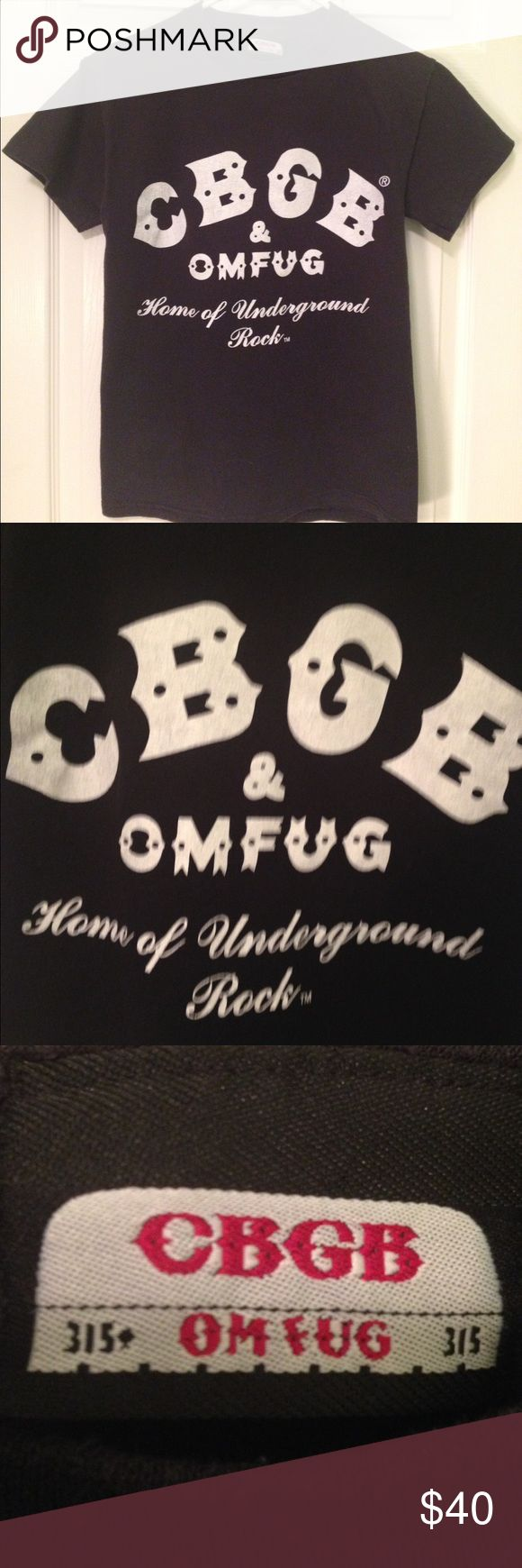 """Vintage 80's CBGB T-Shirt Vintage 8O's black CBGB t-shirt. CBGB & OMFUG Home of Underground Rock-the famous NYC club and home of punk rock bands like the Ramones, Blondie, and The Talking Heads. The size tag is long gone but the t-shirt fits like a small. Chest 34 """". Length 26"""". Very good condtion-the letters don't have any cracks. CBGB & OMFUG Tops Tees - Short Sleeve"""
