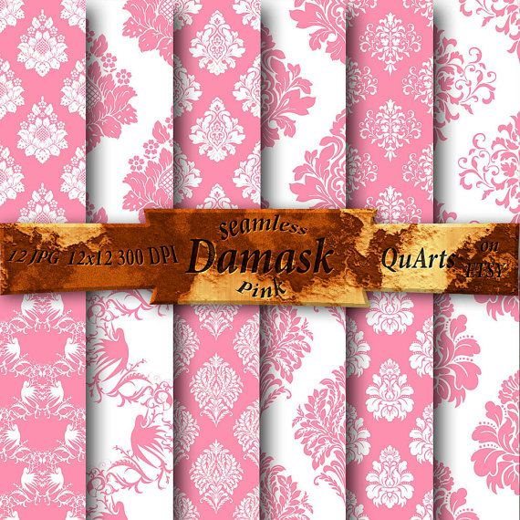 Pink Damask Digital Paper: Pink Damask Paper Pink by QuartCrafts