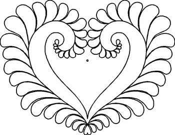 Patsy Thompson Designs: Shop   Category: Quilting Stencils   Product: PT6: Feathered Heart Stencil (12 X 9.5 inches)