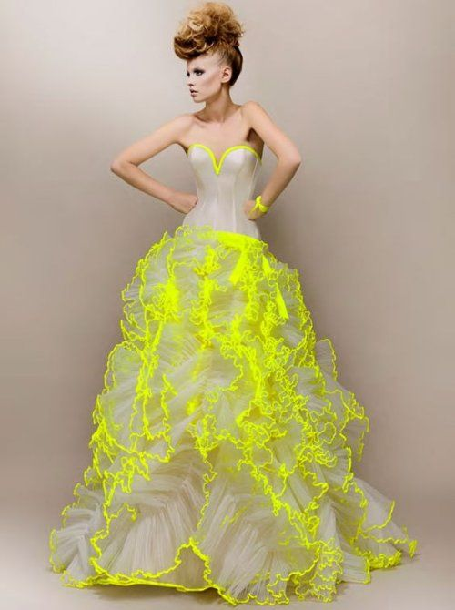 12 Amazing Summer Wedding Dresses with a Pop of Color: Unique summer wedding dress with fitted strapless bodice and neon trimed ruffle skirt