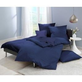 Lorena Mako-Satin einfarbige Bettwäsche Classic marineblau