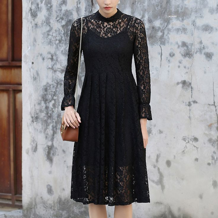 Sexy Black Hollow-out Midi Dress Office Two Pieces Sets Elegant Long White Lace Dress Knee Length Free for Long Camisole