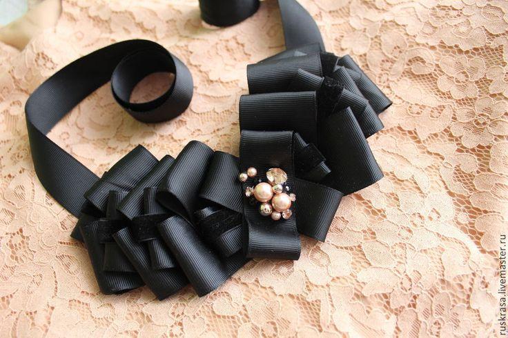 Купить Колье из репсовых лент №7 - черный, персиковый, коралловый, репсовая лента, репсовые ленты
