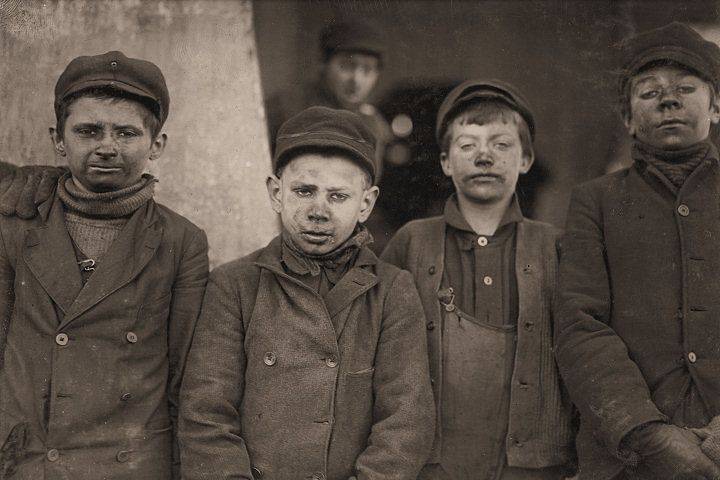 Child coal miners. My grandfather worked in the coal mines too. Not sure what age he started, but I know he left town and never went back to coal mining!