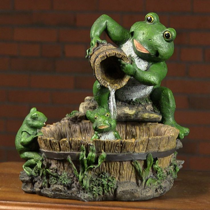 eternity tabletop fountain mother frog bathing family - Tabletop Fountains