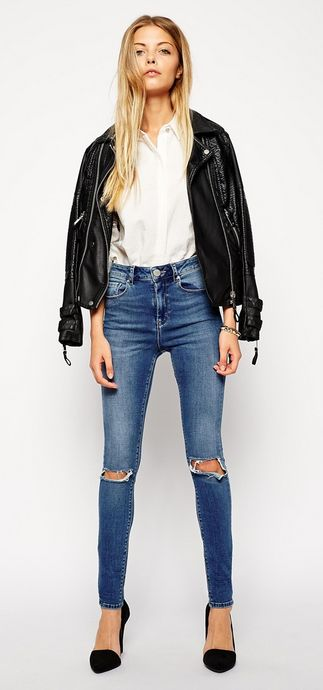 Black moto jacket, white oxford, distressed denim, and black heels.