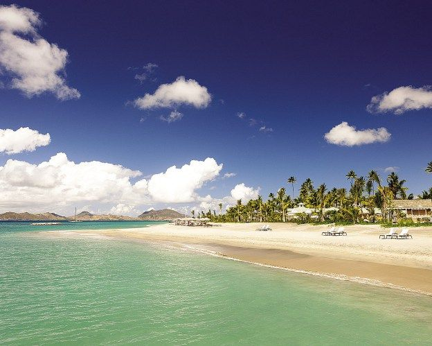 Pinneys Beach, the private beach at the Four Seasons Nevis