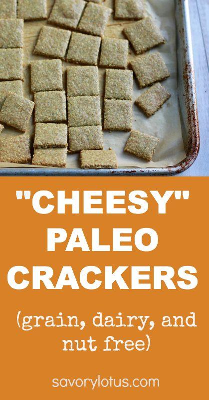 """Cheesy"" Paleo Crackers (grain, dairy, and nut free) | savorylotus.com"