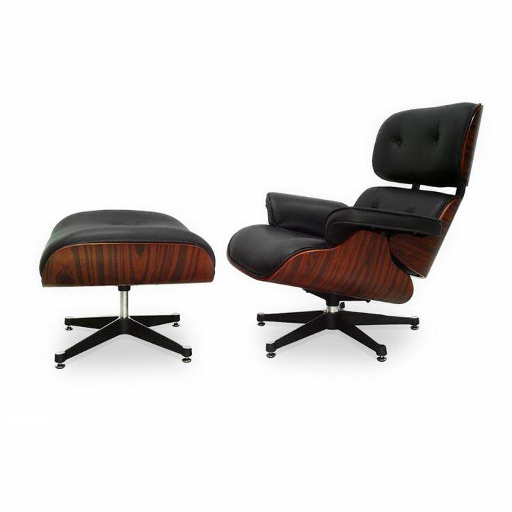 Eames Lounge Chair und Ottomane - Schwarz mit Kirschholz