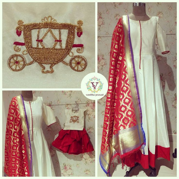 Beautiful mom and daughter duo. White color floor length dress with banarasi duppata and kids dress. 09 June 2017