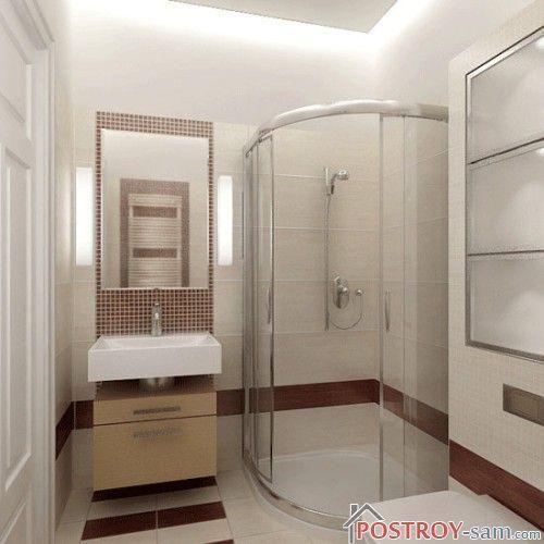 Современный дизайн ванной с душевой кабиной