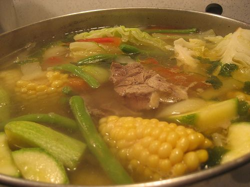OMGosh!  My favorite! Beef Soup Caldo de Rez-served with spanish rice, corn tortillas and a spritz of lemon in the soup.  YUM!
