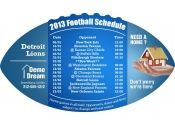 4x7 in One Team Detroit Lions Football Schedule