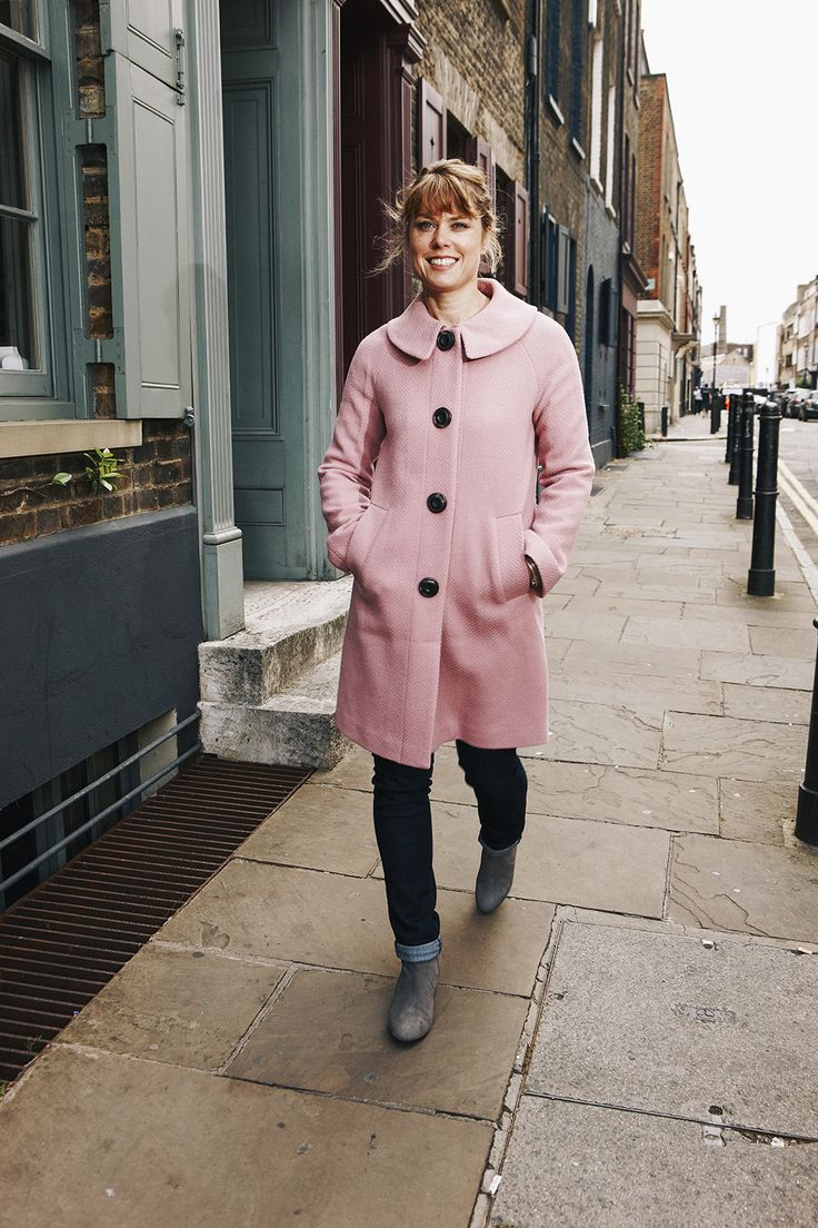 Creative Director Justine wears the Eliza Coat in Allium. Shop now with 15% off and free delivery with code PIN1 (UK) or PIN2 (US) #Boden #AW14