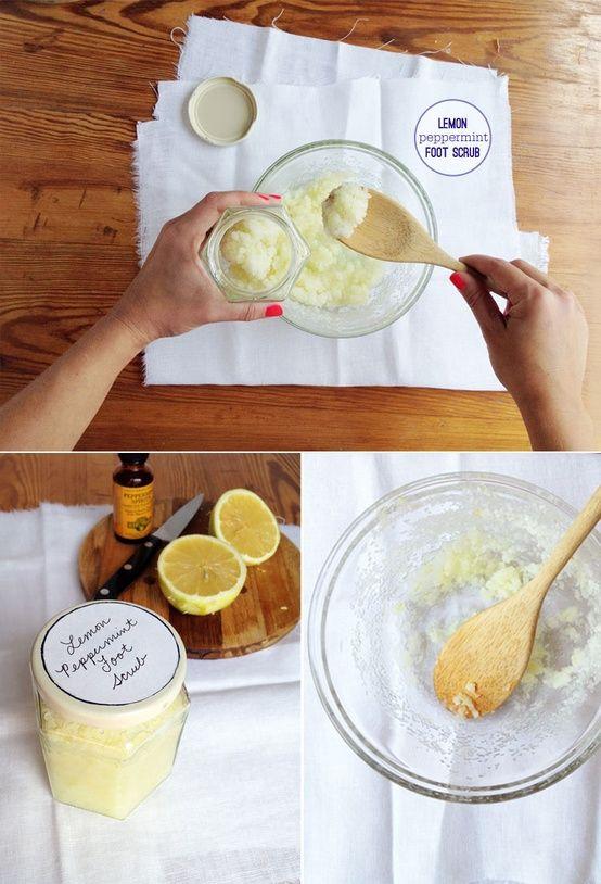 Lemon, Peppermint Foot Scrub ~ 1 cup coarse sea salt 1/2 cup sweet almond oil 2 tsp lemon zest 8 drops peppermint essential oil ~ Curious Charlie ~