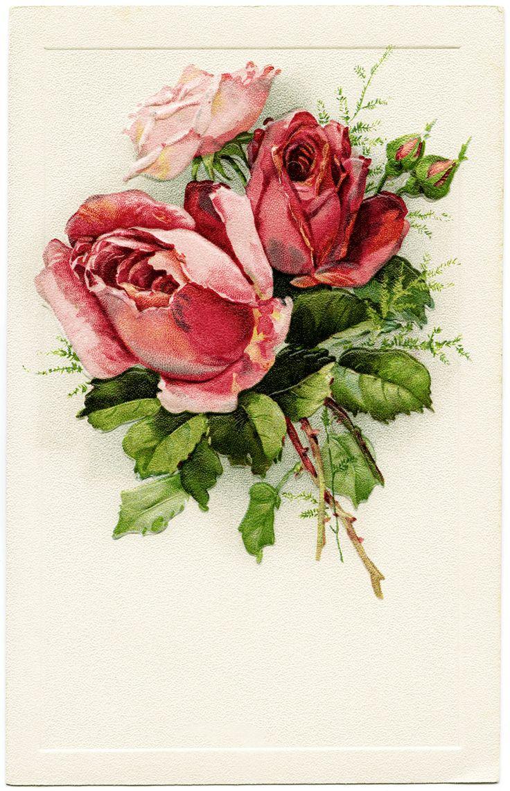 Оригами, винтажная роза открытка