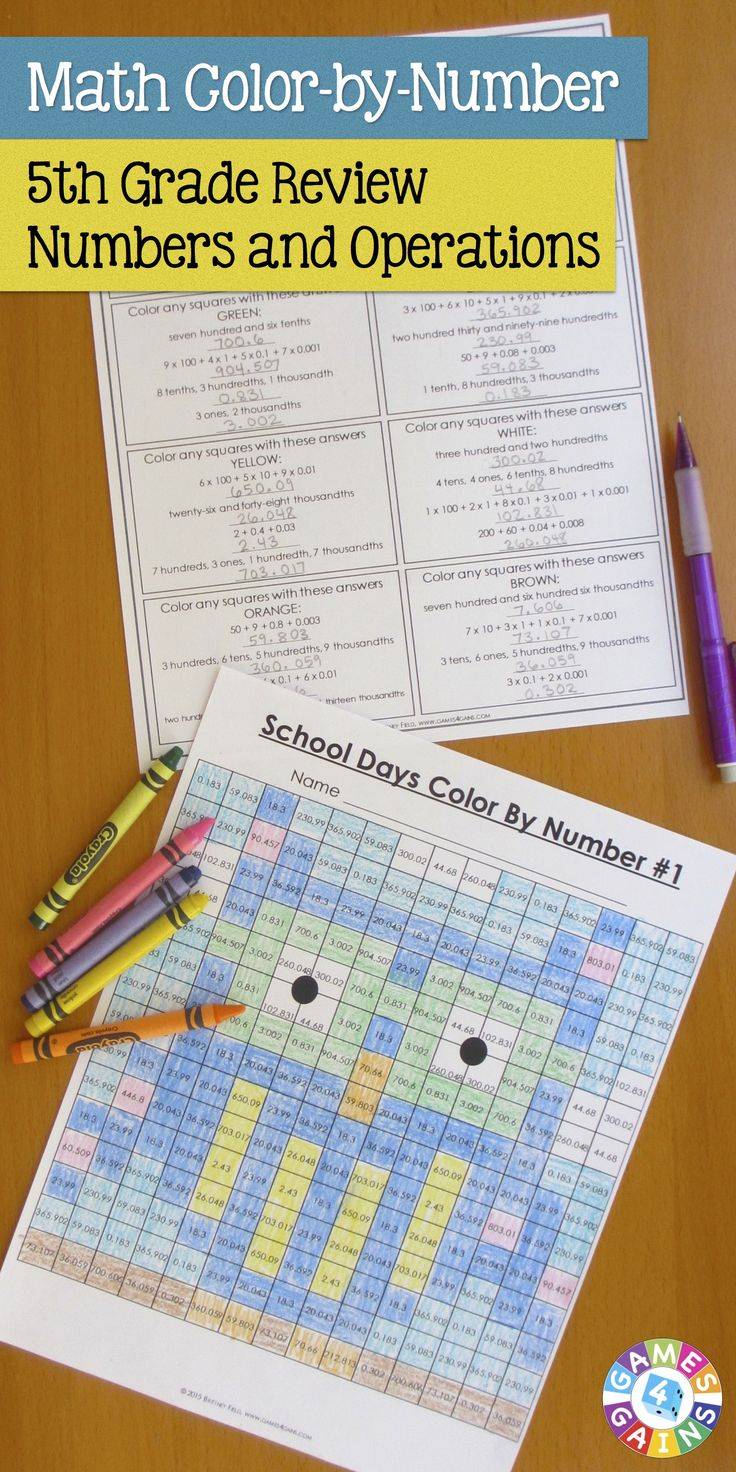 """This back to school math activities set comes with 6 different """"School Days"""" math color-by-number activities for reviewing and practicing place value and operations standards from 5th grade. This set is perfect to use as review with incoming 6th graders or as practice with 5th graders who are learning these skills. $"""