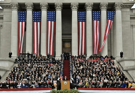West Virginia Governor Earl Ray Tomblin delivers his inaugural address after taking the oath of office as West Virginia's 35th governor.