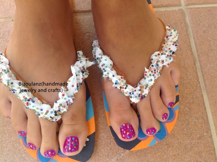 Decorated flip flops, whipped cream and sprinkles!