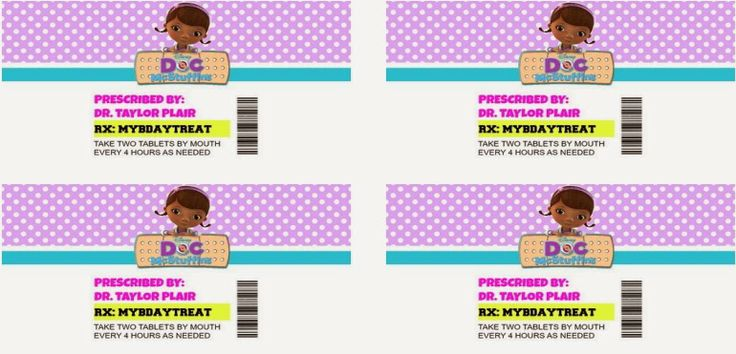 "Printable pill bottle labels Doc McStuffins birthday party. Avery shipping label template 8163 2""x4"""