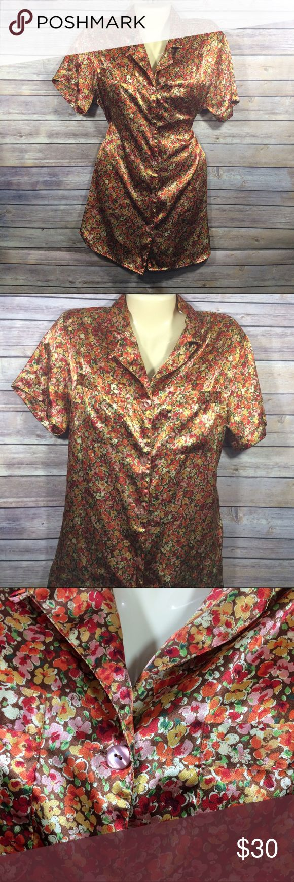 Victoria's Secret Vintage Satin Sleepshirt PJs XS Victoria's Secret Vintage Satin Sleepshirt Nightgown button down Floral print with brown and orange colors. Size XS. Size chart is in images.  All measurements were taken with item laying flat. Condition: barely worn like new.  Silky shiny sexy comfortable perfect for a good nights rest💤💤 all of my closet is stored in a climate controlled storage unit. Victoria's Secret Intimates & Sleepwear Pajamas