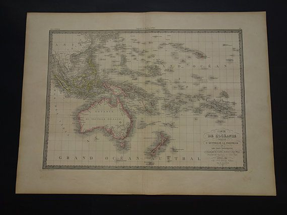 1842 OCEANIA antique map of Oceania  LARGE old by VintageOldMaps