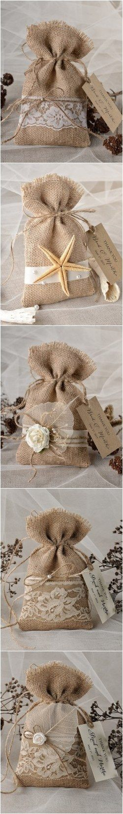 Rustic country burlap wedding favors bags #rusticwedding #countrywedding