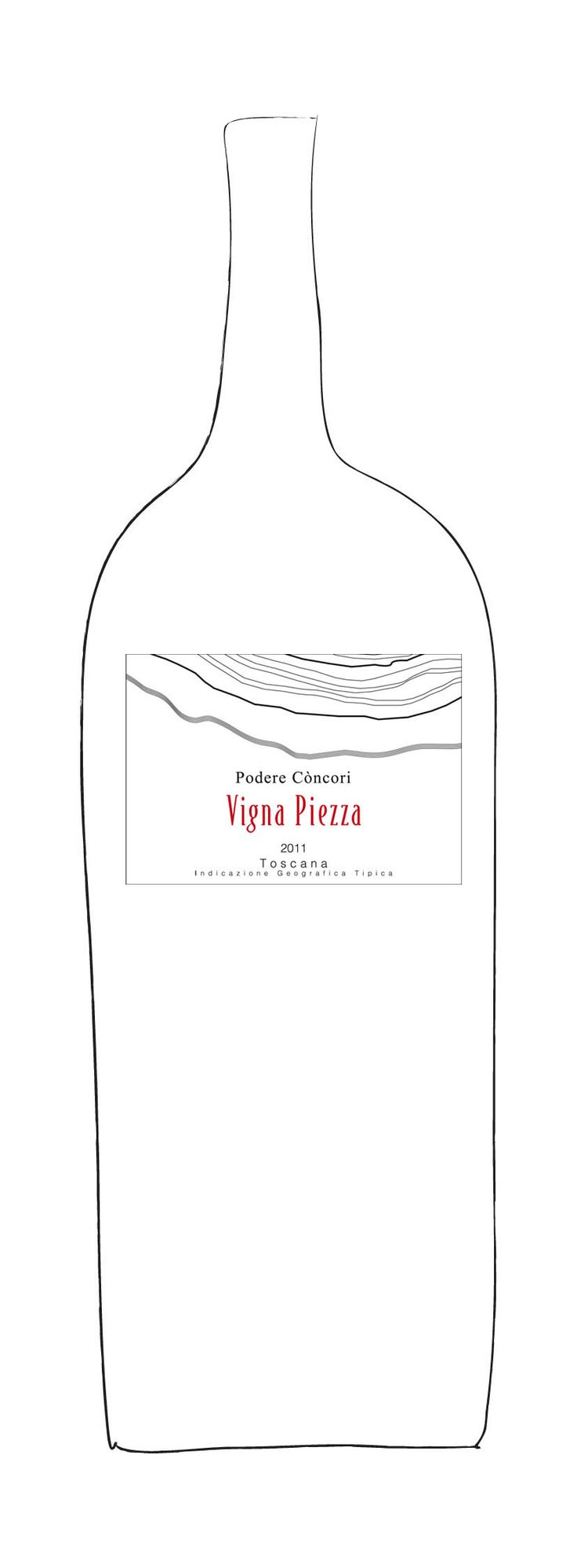 """Vigna Piezza 2011, Podere Concori - """"Vigna Piezza, historically the most important vineyard of Podere Concori, is marked by its steep slopes and exceptional microclimate. The Serchio River nearby has an essential mitigating role affecting the area's ventilation and creating a perfect environment for the grapes' health and its aromatic evolution. Podere Concori's Premier Cru, Vigna Piezza, is only made in exceptional vintages. Grape varieties: Syrah."""""""