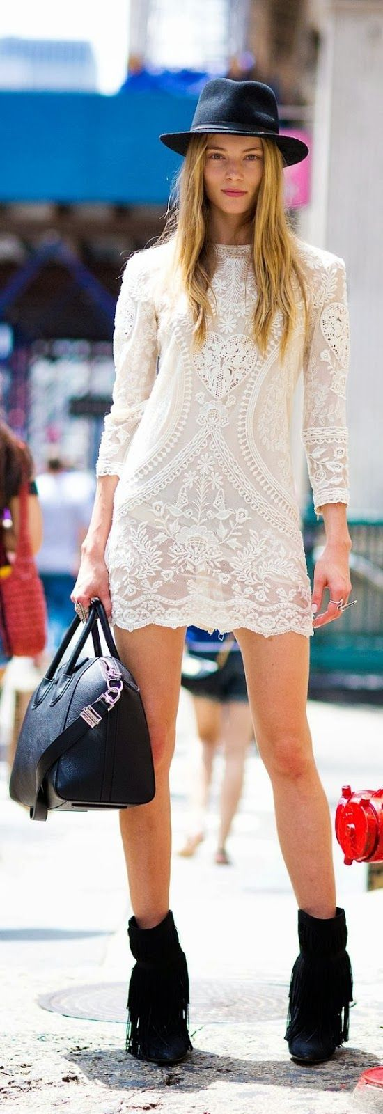 hat lace dress with long boots