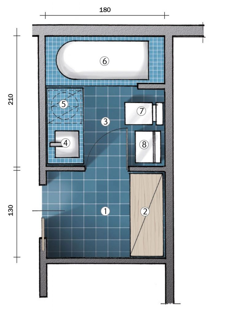 Progetto bagno piccolo latest with bagno lungo e stretto - Progettare il bagno on line ...