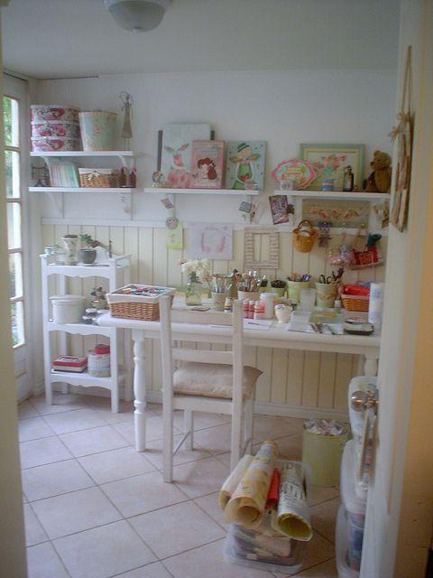 Pretty Cottage Craft Room Shelves