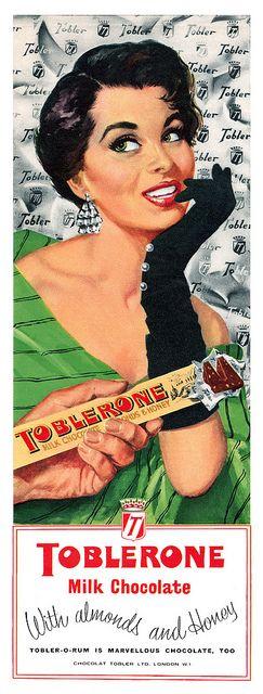 Toblerone chocolate vintage ad   evening gloves