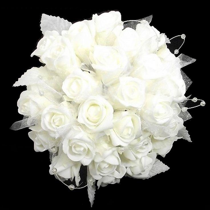 Colore bianco matrimonio, damigella d'onore, motivo: bouquet di rose, 30 cm, con occhielli in organza con brillantini e perlati: Amazon.it: Casa e cucina