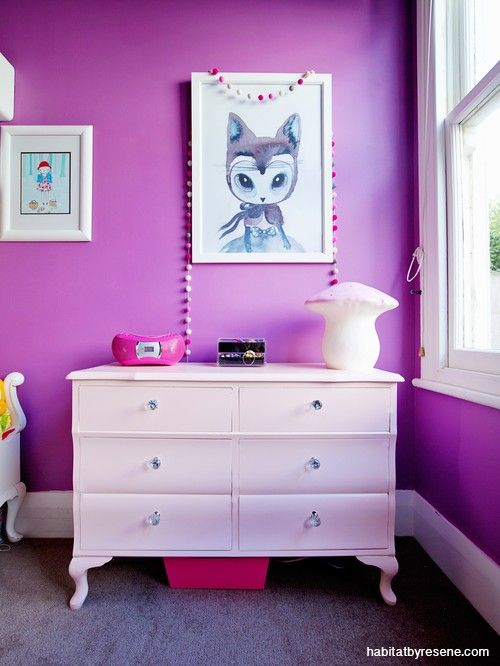 Young Esther's bedroom is bold in purple Resene Sassy. The chest of drawers was upcycled with diamond shaped handles and a lick of Resene Pink Terrace.