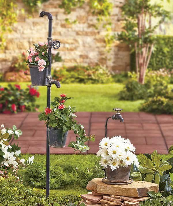 garden planter rustic country primitive faucet tap bucket antique farm