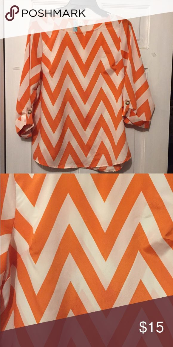 Pretty chevron blouse Pretty orange chevron blouse Boutique Tops Blouses