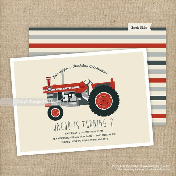 Vintage red tractor birthday invitation  by LingsDesignStudio